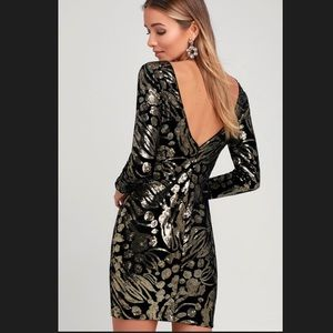 Dress the Population Lola Black Velvet Gold Sequin